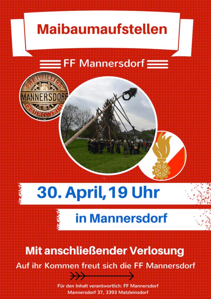 Maibaumaufstellen in Mannersdorf